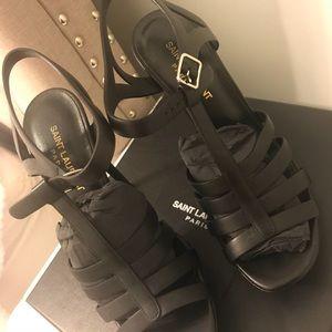 Saint Laurent Bianca heel - size 8 black leather